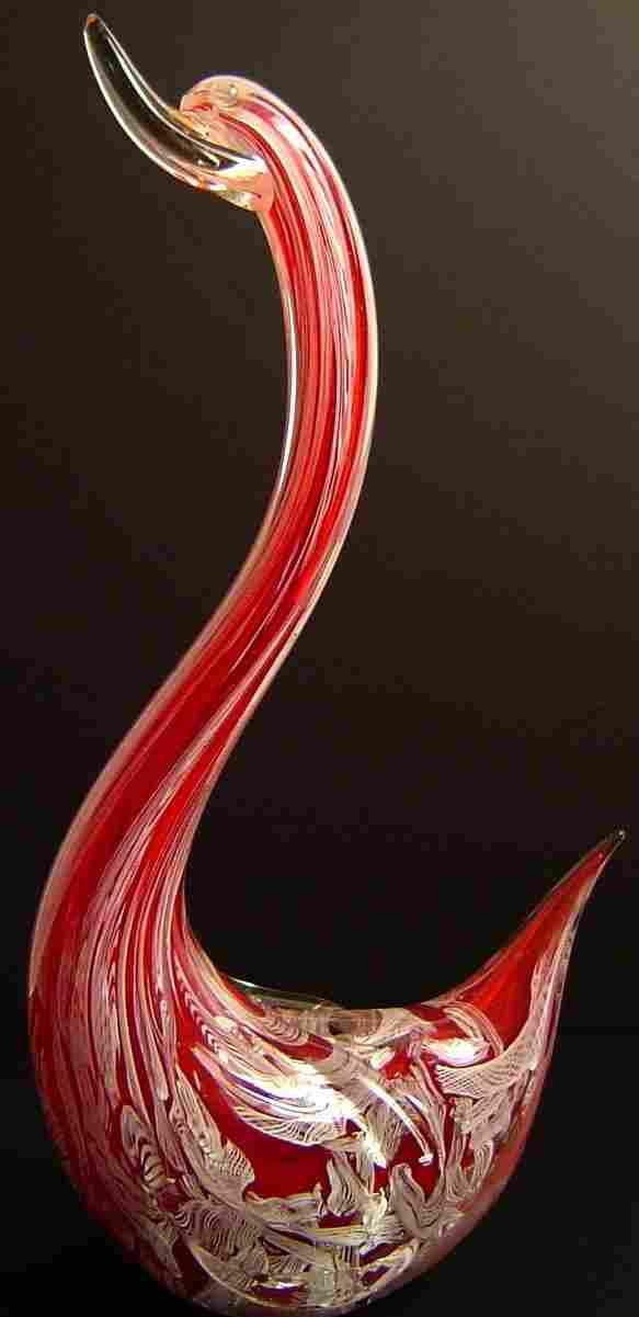 RED AND WHITE MURANO GLASS SWAN