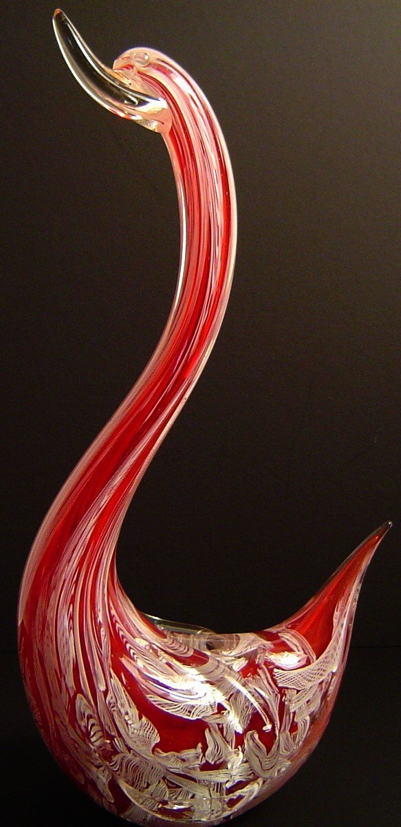 1: RED AND WHITE MURANO GLASS SWAN