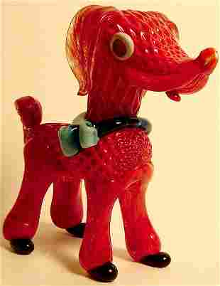 "MURANO GLASS FIGURE OF A DOG CIRCA 1960 HT 8"""