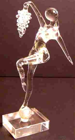"""MURANO GLASS DANCER WITH GRAPES, 7 1/2"""""""