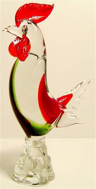 "MURANO GLASS ROOSTER 12"" CIRCA 1960"