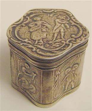 """STERLING SILVER PILL BOX WITH HALLMARKS. 1"""" X 1"""" 18"""