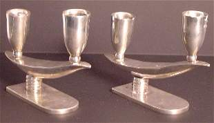 PR.MEXICAN STERLING SILVER DECO CANDLE STICKS