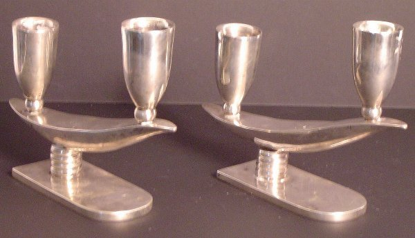 18: PR.MEXICAN STERLING SILVER DECO CANDLE STICKS