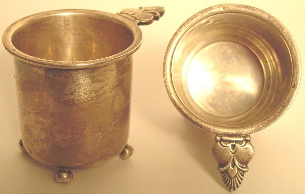 19: 2 STERLING GEORGE JENSEN FOOTED CIGARETTE CUPS?