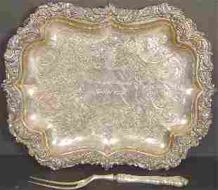 FOOTED SILVER PLATE FOOTED TRAY AND FORK
