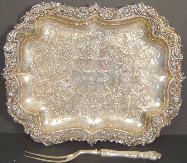 22: FOOTED SILVER PLATE FOOTED TRAY AND FORK
