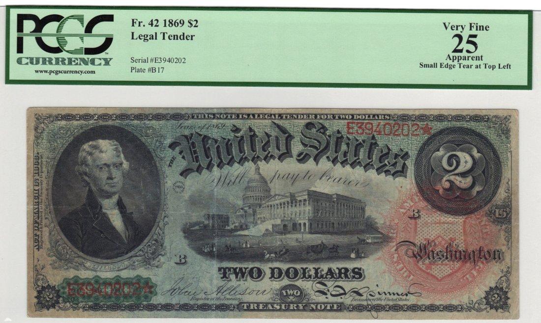 Fr. 42 1869 $2 Legal Tender