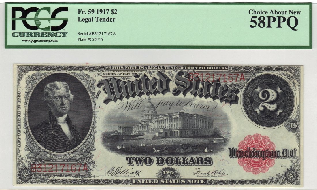 Fr. 59 1917 $2 Legal Tender