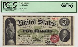 Fr. 63 1863 $5 Legal Tender