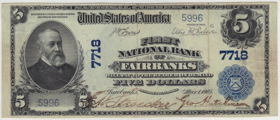 Fairbanks, AK 1902 $5 Blue Seal PB