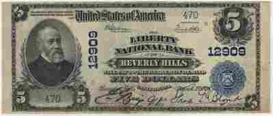 Beverly Hills, CA 1902 $5 Blue Seal PB