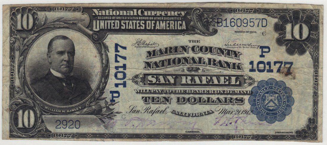 San Rafael, CA 1902 $10 Blue Seal PB