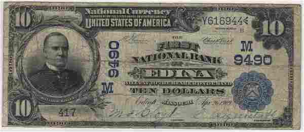 Edina, MO 1902 $10 Blue Seal PB