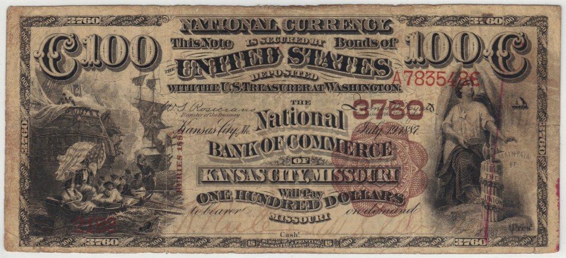 Kansas City, MO 1882 $100 Brown Back