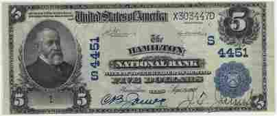 Hamilton, TX 1902 $5 Blue Seal PB