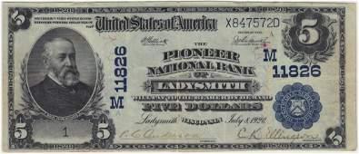 Ladysmith, WI 1902 $5 Blue Seal PB