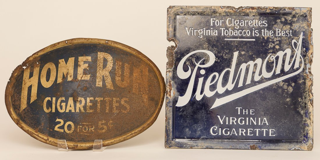 Home Run Cigarettes Tin Sign and Piedmont Tobacco Seat