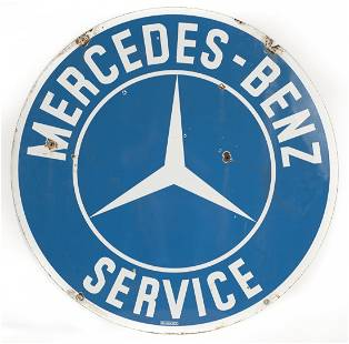Early Mercedes Benz Service Porcelain Sign