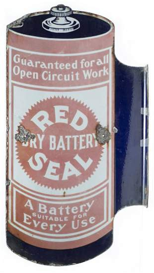 Red Seal Batteries Die Cut Flange Porcelain Sign