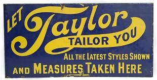 Taylor Clothing Porcelain Flange Sign
