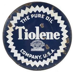 Tiolene The Pure Oil Porcelain Sign