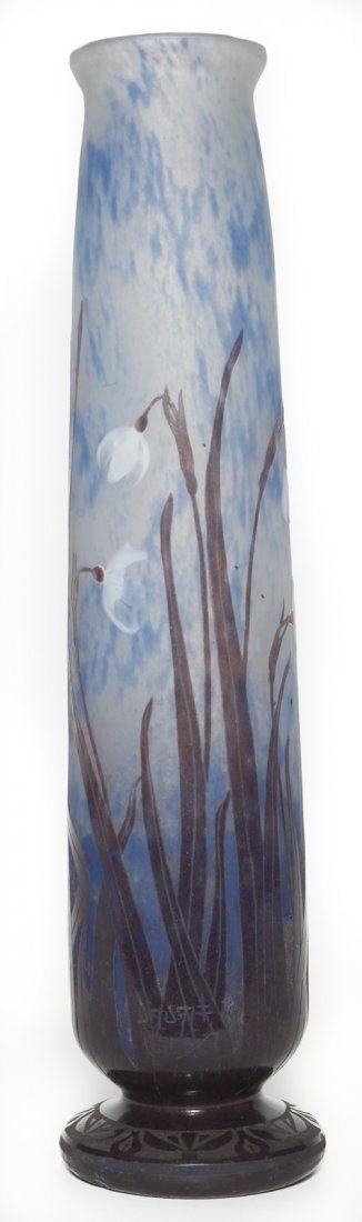 Tall Daum Nancy Wheel Carved Vase