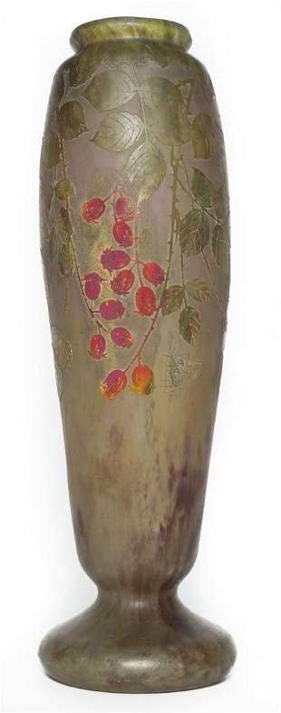 Monumental Daum Nancy Vase with Berries