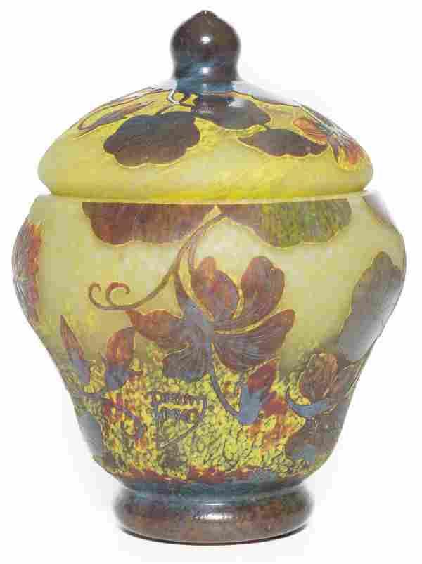 Daum Nancy Vase with Acorn Lid