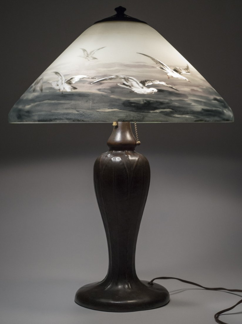 Handel Lamp with Seascape and Seagulls #6632