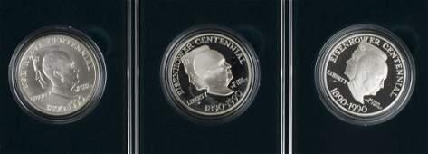 3 US Mint Commemorative Eisenhower Silver Dollars