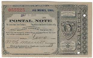 Des Moines, IA 1889 Postal Note #055525