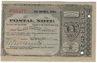 Des Moines, IA 1889 Postal Note #058377