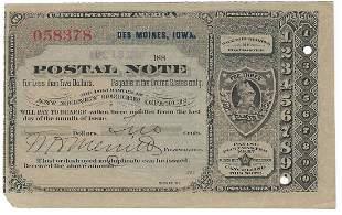 Des Moines, IA 1889 Postal Note #058378