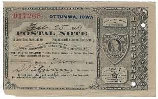 Ottumwa, IA 1889 Postal Note #017268