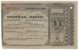 Pleasantville, IA 1889 Postal Note #003966