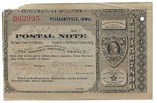 Pleasantville, IA 1889 Postal Note #003995