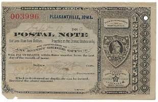 Pleasantville, IA 1889 Postal Note #003996