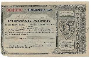 Pleasantville, IA 1889 Postal Note #004026