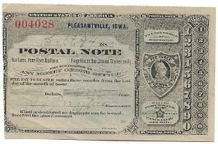 Pleasantville, IA 1889 Postal Note #004028