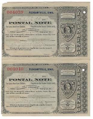 Pleasantville, IA 1889 Uncut Pair of Postal Notes