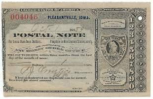 Pleasantville, IA 1889 Postal Note #004046
