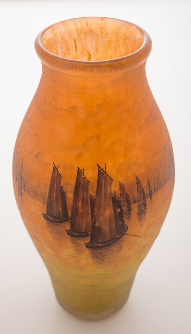 Daum Nancy Sailboats at Sunset Vase