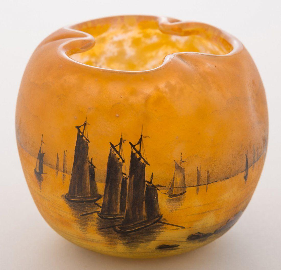 Daum Nancy Sailboats at Sunset Vase