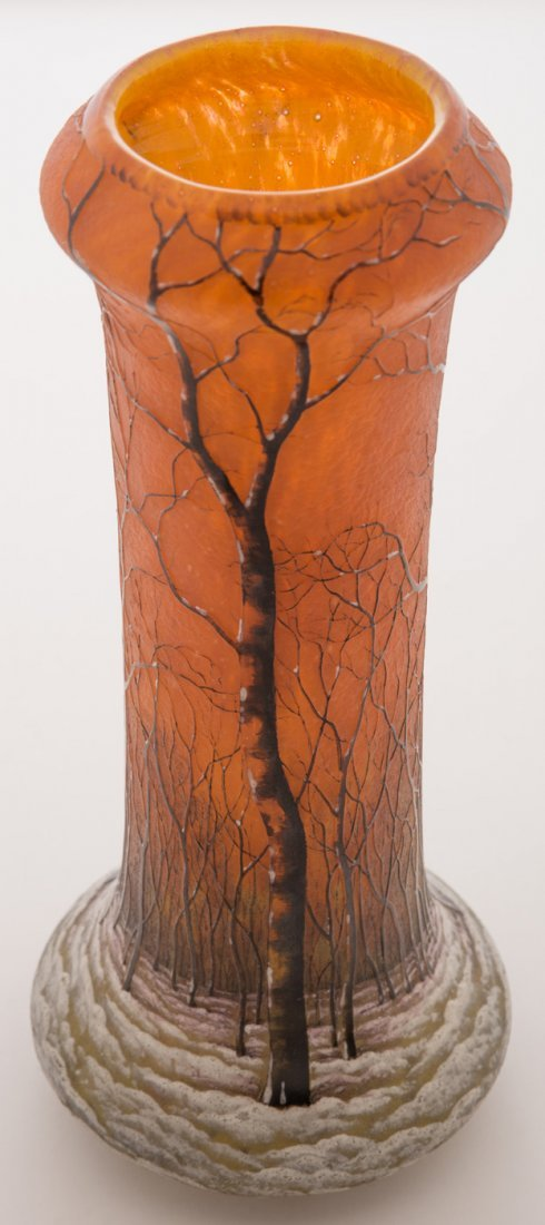 Daum Nancy Winter Scene Vase