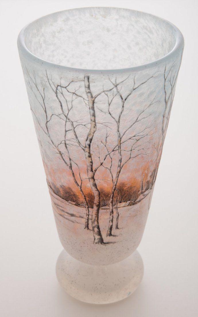 Daum Nancy Dutch Winter Scene Vase