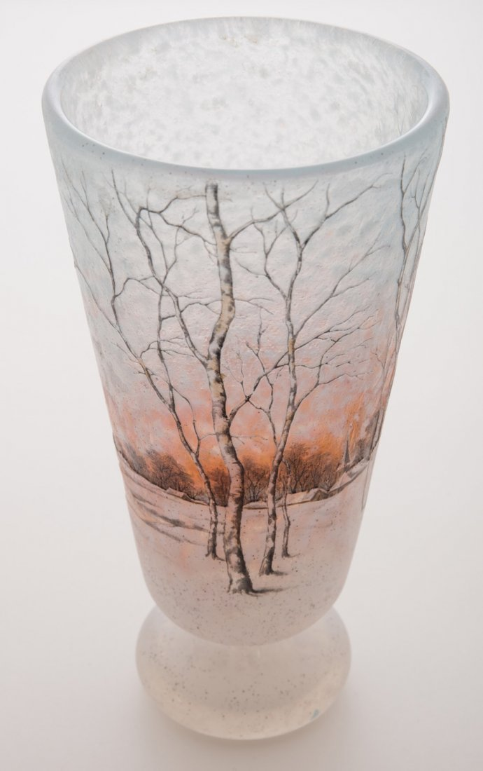 Daum Nancy Dutch Winter Scene Vase