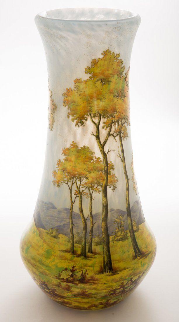 Monumental Daum Nancy Autumn Vase