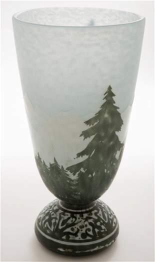 Daum Nancy Winter Mountain Scene Vase