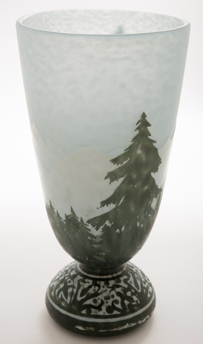 Daum Nancy Winter Mountain Scene Vase